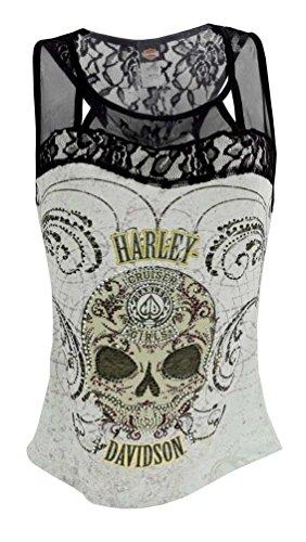 Harley-Davidson Women's Tank Top, Embellished Sugar Coated Skull HD415-025M (M)