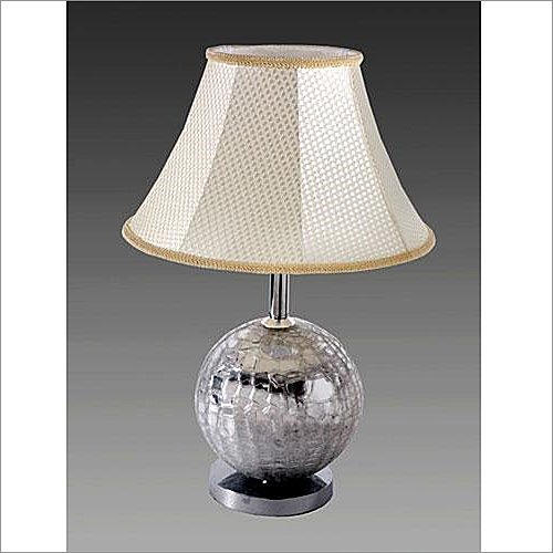 Table Lamp Yosemite Home Decor Glass Disco Ball Portable Table Lamp with Beige Bell Shape Shade