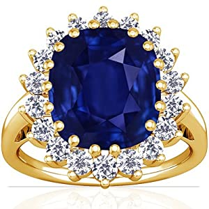 14K Yellow Gold Cushion Cut Blue Sapphire Ring With Sidestones