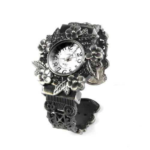 White Round Dial Flower Detail Case Bronze Tone Quartz Bracelet Watch front-1033177