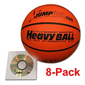 Buy 8-Pack Heavy Ball 3lb Weighted Trainer Basketball Hi-Carbon Rubber with Skills Video by HeavyBall Basketball
