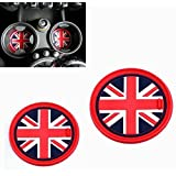 VCiiC (2 73mm Red Union Jack UK Flag Style Soft Silicone Cup Holder Coasters for Mini Cooper R55 R56 R57 R58 R59 Front Cup Holders (Color: Red)