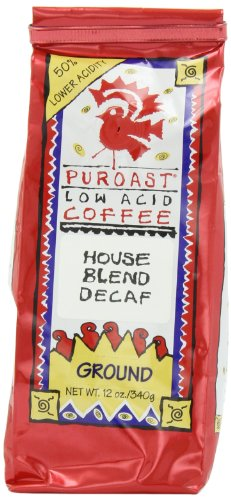 Puroast Low Acid Coffee Low Acid House Blend Natural Decaf  Ground,12 oz  Bags (Pack of 2)