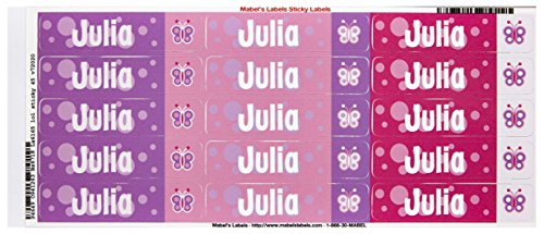 Mabel'S Labels 40845153 Peel And Stick Personalized Labels With The Name Julia And Butterfly Icon, 45-Count