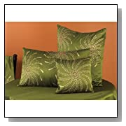 Hand Painted & Beaded Golden Pinwheel Decorative Throw Pillow