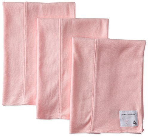 Burt's Bees Baby-Girls Organic Bee Essentials Set of 3 Solid Burp Cloths, Blossom, One Size