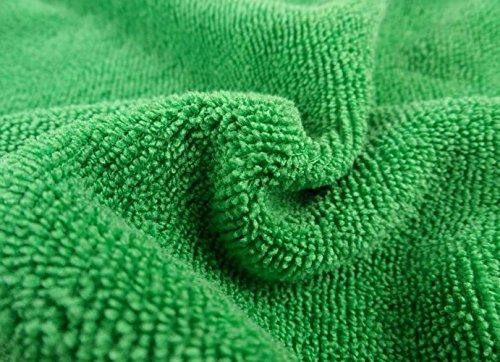 選べる7色 マイクロ ファイバー クロス クリーニング 20枚 セット 洗車 や コーティング 仕上げ に! (緑)