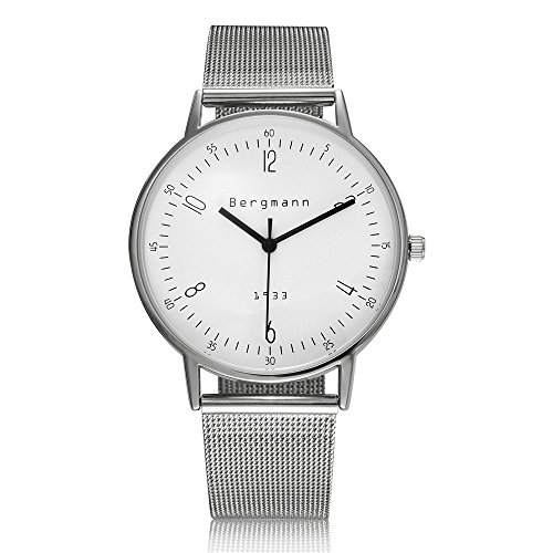 Bergmann Brand Vintage Watches For Men 6Mm Extra Slim Silver Case White Dial Stainless Steel 1933