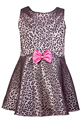 Baby Fashionistas Little Girls' Animal Printed Fit And Flare Dress With Bow