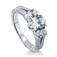 buy Berricle Sterling Silver Oval Cubic Zirconia Cz 3 Stone Art Deco Engagement Wedding Split Shank Ring