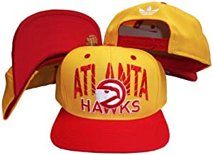 Atlanta Hawks Yellow Red Two Tone Plastic Snapback Adjustable Plastic Snap Back Hat... by adidas
