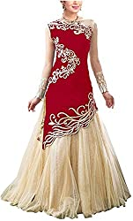 Shiv Fab Women's Raw Silk Unstitched Dress Material (Red)