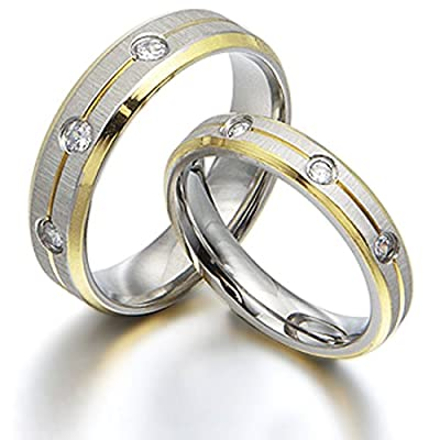 Gemini Groom & Bride 18K Gold Filled CZ Diamonds Anniversary Matching Wedding Rings Set 6mm & 4mm Width Men Size : U