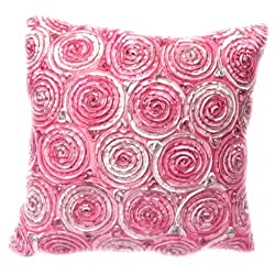 Oops!! (Single) Two Tone 3d Bouquet of Pink Roses Throw Cushion Cover/pillow Sham Handmade By Satin and Thai Silk for Decorative Sofa, Car and Living Room Size 16 X 16 Inches. On Sell with Complimentary by ENJOY SMILE