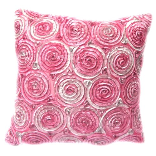 (Single) Two Tone 3d Pink Bouquet of Purple Roses Throw Cushion Cover/pillow Sham Handmade By Satin and Thai Silk for Decorative Sofa, Car and Living Room Size 16 X 16 Inches