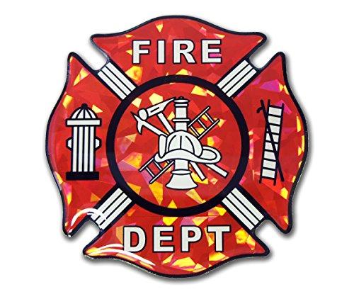 Fire Department Fireman Red Reflective 3D Decal Domed Auto Sticker Emblem (Fire Emblem Sticker compare prices)