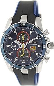 Seiko Sportura FC Barcelona Chronograph Blue Dial Blue Silicone Mens Watch SPC089P2