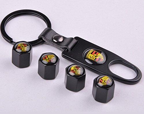 D&R® Set of 4 Car Tire Valve Stem Air Caps Cover + Keychain For Porsche