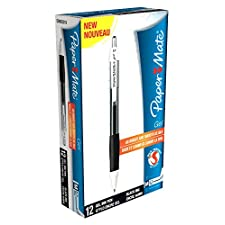 Papermate Gel Silk Writer - Bolígrafo (Negro, Negro, Color blanco), paquete de 12 unidades