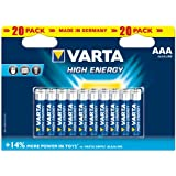 Varta High Energy AAA Batteries 20-Pack