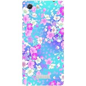 Casotec Floral Blue Pattern Design Hard Back Case Cover for Micromax Canvas Unite 3 Q372
