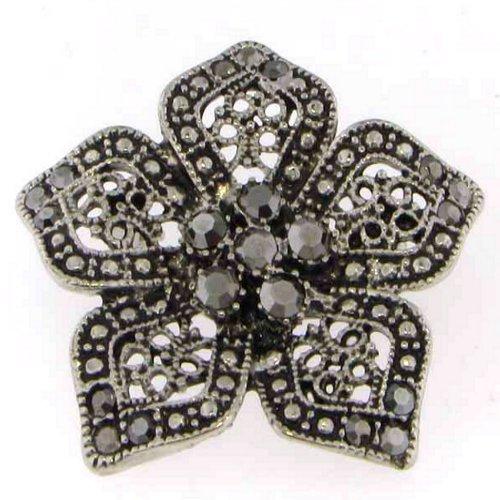 Silver Crystal Flower Brooch Pin