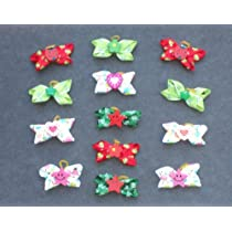 24 Dog Grooming Hair Bows - 4 corner Bows with Smiling Face hearts etc decorated in center