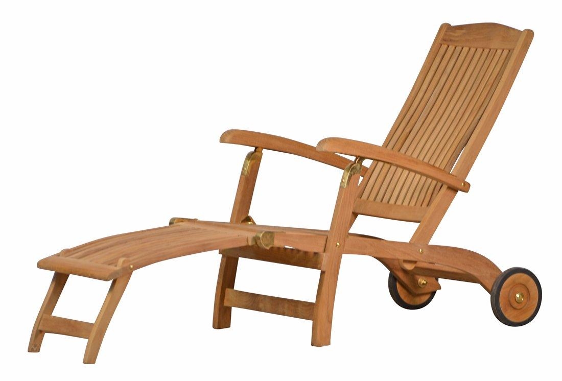 """Premium Teak Deckchair aus der Serie """"Brighton"""" gefertigt aus Teakholz mit Rad/ massiv/ Liege/ Sonnenliege/ Liegestuhl/ Gartenliege/ Gartenmöbel/ Holz-Liege/ Teak-Liege/ klappbar/ zusammenklappbar/ Premium-Qualität jetzt bestellen"""