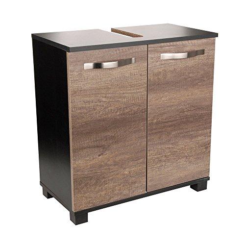 Waschtischunterschrank-Ren-Holz-braun-325-x-60-x-635-cm-Herausnehmbarer-Einlegeboden-Aussparung-fr-Siphon-2-Tren