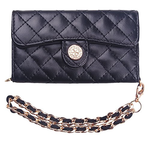 Premium Quilted Purse Style Wristlet Wallet Case Folio Cover For Iphone 4/4S -Black front-47586