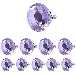 HOSL 40mm Crystal Glass Normal Diamond Shape Cabinet Knob Drawer Pull Handle Color Purple(Pack of 10