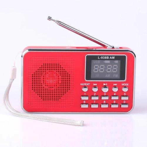 Mfine Portable Mini Usb Fm Radio Speaker Music Player Sd/Tf Card For Pc Ipod Phone (938B Red)