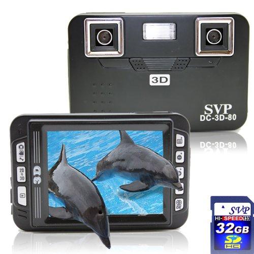 SVP DC-3D-80 (32GB SD Card) Black 3D Digital Camera with 2.8