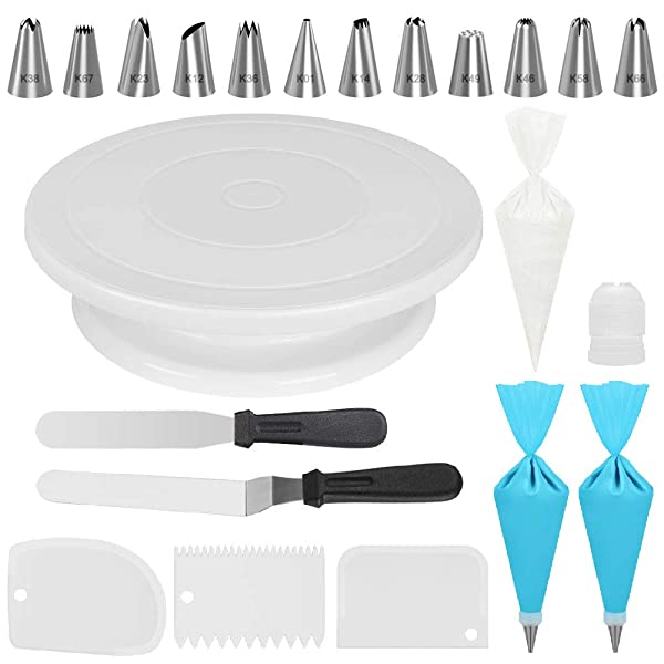 Kootek Cake Decorating Kits Supplies with Cake Turntable, 12 Numbered Cake Decorating Tips, 2 Icing Spatula, 3 Icing Smoother, 2 Silicone Piping Bag, 50 Disposable Pastry Bags and 1 Coupler (Tamaño: Medium)