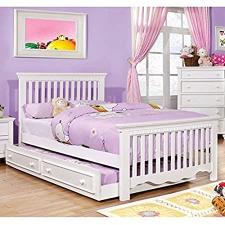 Castillian Cottage Style White Finish Twin Size Bed Frame Set w/ Trundle
