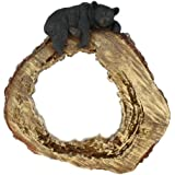 Large Bear Lounging on Log Decorative Mirror - Black Bears Cabin Grizzly Decor