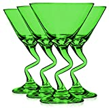 Libbey Light Green Z Shaped Stem Martini Glasses 9 oz. set of 4 - Additional Vibrant Colors Available by TableTop King