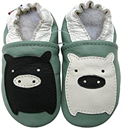 Carozoo baby boy soft sole leather infant toddler kids shoes Black White Piggy Green 12-18m