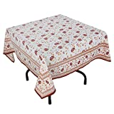 "Handmade Indian 54"" Square Tablecloth - Maroon, Orange And White Floral Cotton"