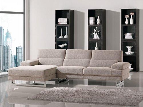 Fine Como Beige Microfiber Fabric Living Room Sectional Sofa Creativecarmelina Interior Chair Design Creativecarmelinacom