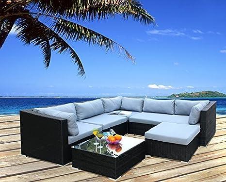 Polyrattan Lounge Sitzgruppe Gartenmöbel Garnitur Poly Rattan 5 Sitzplätze