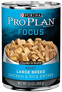 Purina Pro Plan Adult Dog Food (Large Breed), Chicken and Rice Entrée, 13-Ounce Cans (Pack of 12)