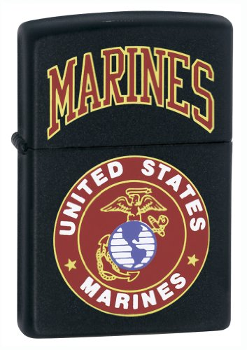 Zippo Marines Pocket Lighter, Matte Black