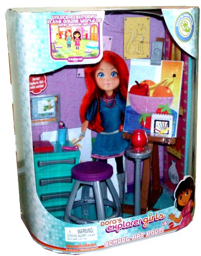 Mattel Dora'S Explorer Girls School Art Room Playset With Art Classroom Diorama, Easel, Canvas, Stool, Pottery Wheel, Pot, Art Caddy, Pallet, Notebook, Book, Paint Brush Cup, 2 Paint Brushes, Pencil Cup, 2 Pencils, And 2 Tubes Of Paint Plus Code To Unlock front-767289