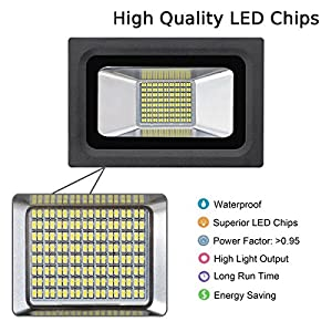 Lanktoo LED Floodlight 30W Warm White 220V 2400LM Waterproof Ultra Bright Outdoor Flood Light 2700-3500K Spot Lamp Security Lamps with 144pcs LEDS by Lankdeals