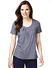 7 Pleat Tile Print Top with Stay New&#8482;