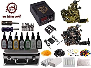 1TattooWorld Premium Tattoo Kit 2 Handmade Machine Gun Digital Power Supply Needles 7 color 1/2 oz Inks, OTW-KK02