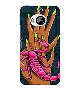 SCORPION CLIMBING ON HANDS OF A GIRL IN ABSTRACT BACKGROUND 3D Hard Polycarbonate Designer Back Case Cover for HTC One M9+ :: HTC One M9 Plus