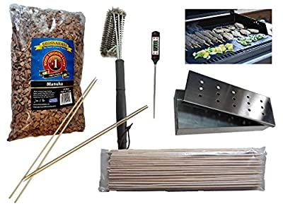 Smoker box, wood chips, grill thermometer, grill brush, non-slip grill mat, barbecue skewers and marshmallow sticks from Out Walkabout
