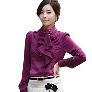 Aro Lora Women's Long Sleeve Stand Collar Lotus Leaf Ruffle Shirt Blouse Large Purple